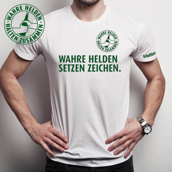 """Ur-Krostitzer T-Shirt """"Wahre Helden setzen Zeichen"""""""